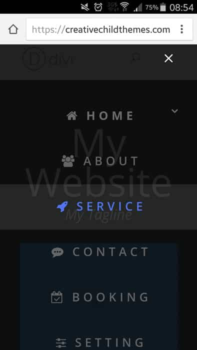 mobile menu divi
