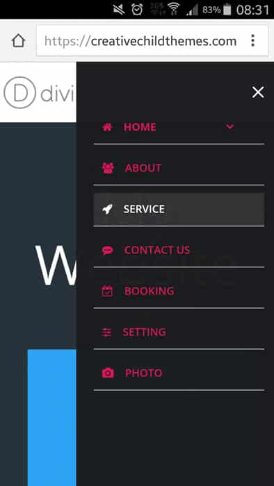8 new style for mobile menu of divi needyesterday - Divi mobile menu ...